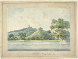View of Colgong (Bihar) from the River Ganges with a European  bungalow on a hill